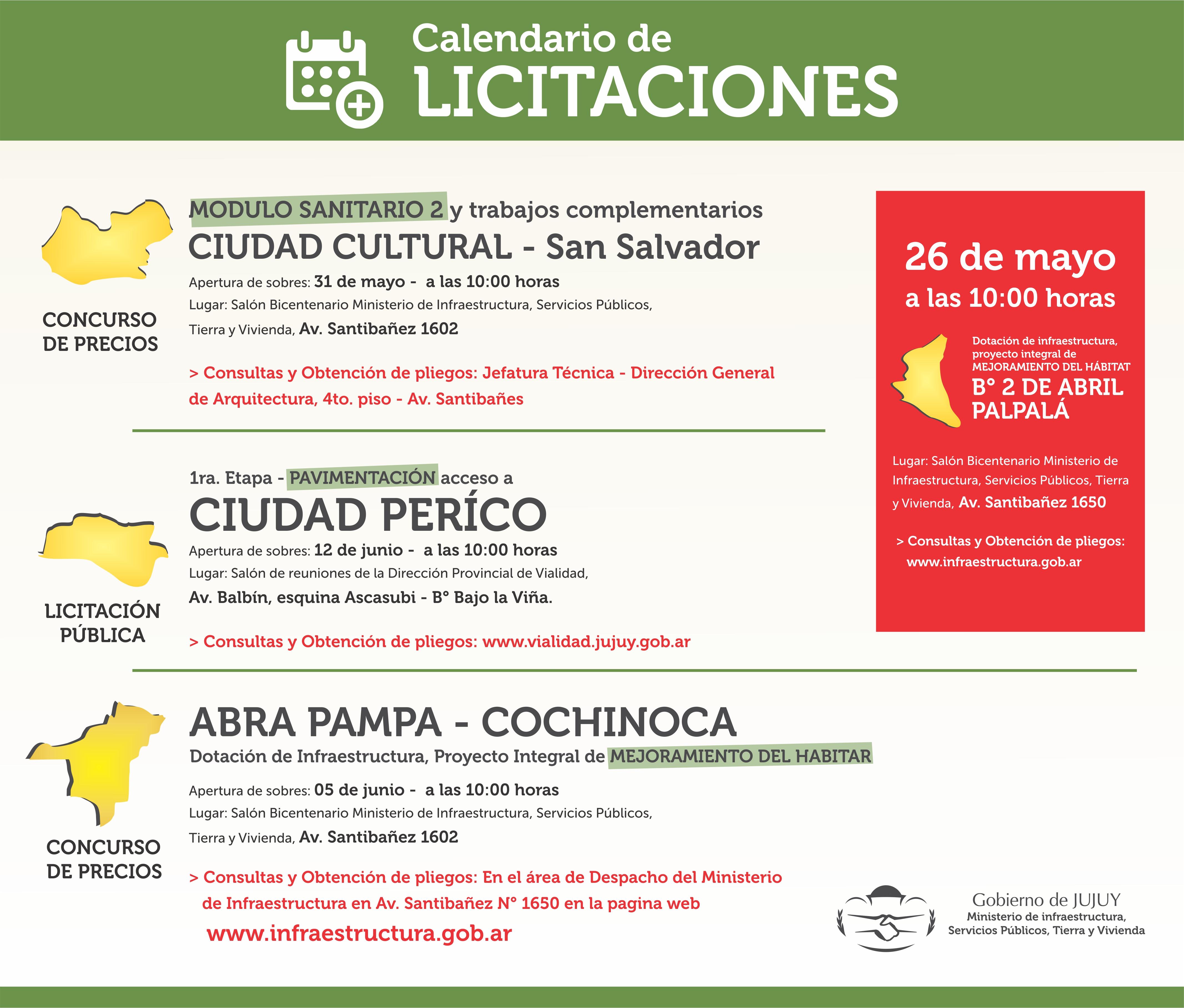 CALENDARIO DE LICITACIONES